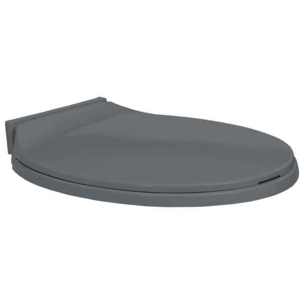 vidaXL Capac WC cu închidere silențioasă, gri, oval