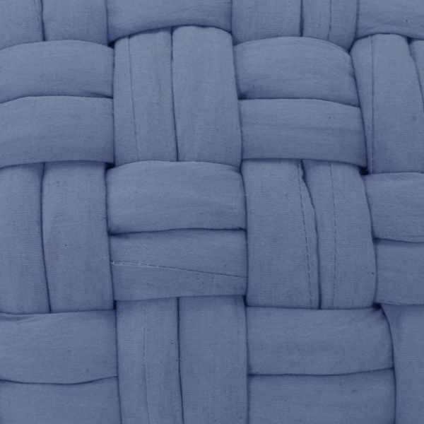 Fotoliu puf cu design împletit, albastru, 50 x 35 cm, bumbac