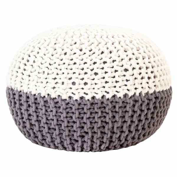vidaXL Fotoliu puf tricotat manual, antracit și alb, 50×35 cm, bumbac