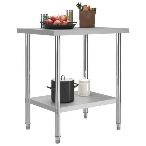 Masă de lucru bucătărie, 80 x 60 x 85 cm, oțel inoxidabil