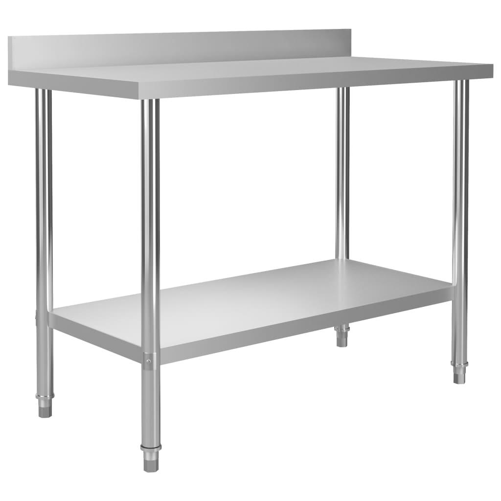 vidaXL Masă de lucru bucătărie bordură antistropire 120x60x93 cm oțel