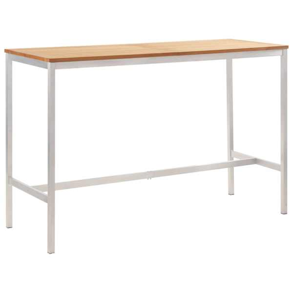 vidaXL Masă de bar, 160x60x105 cm, lemn masiv tec & oțel inoxidabil