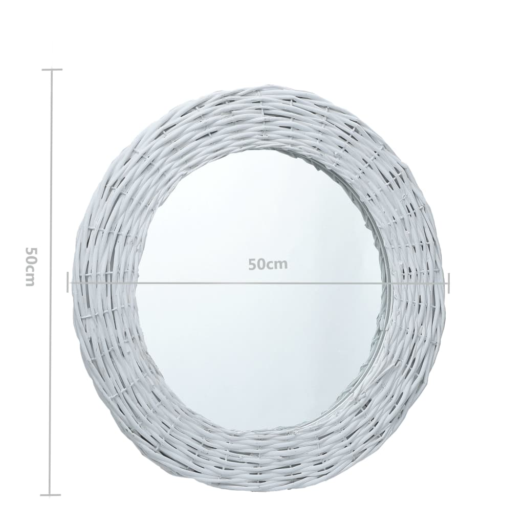 vidaXL Oglindă, alb, 50 cm, răchită