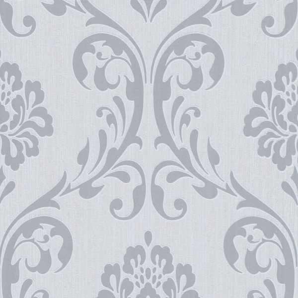 vidaXL Role de tapet nețesut, 2 buc., alb, 0,53 x 10 m, ornamental