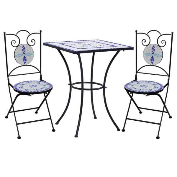 vidaXL Set de bistro mozaic, 3 piese, albastru & alb, placă ceramică