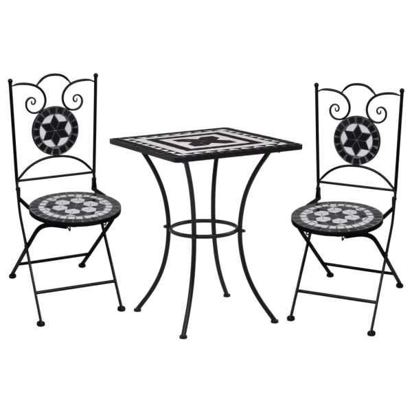 vidaXL Set de bistro mozaic, 3 piese, negru & alb, placă ceramică