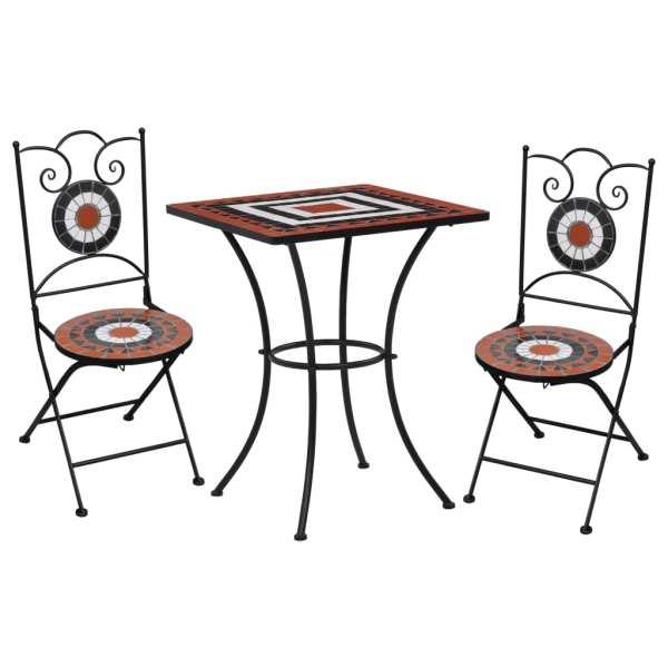 vidaXL Set de bistro mozaic, 3 piese, cărămiziu & alb, placă ceramică