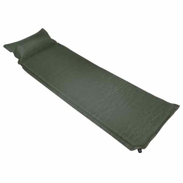 vidaXL Saltea gonflabilă cu pernă, verde închis, 66 x 200 cm