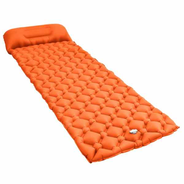 vidaXL Saltea gonflabilă cu pernă, portocaliu, 58 x 190 cm