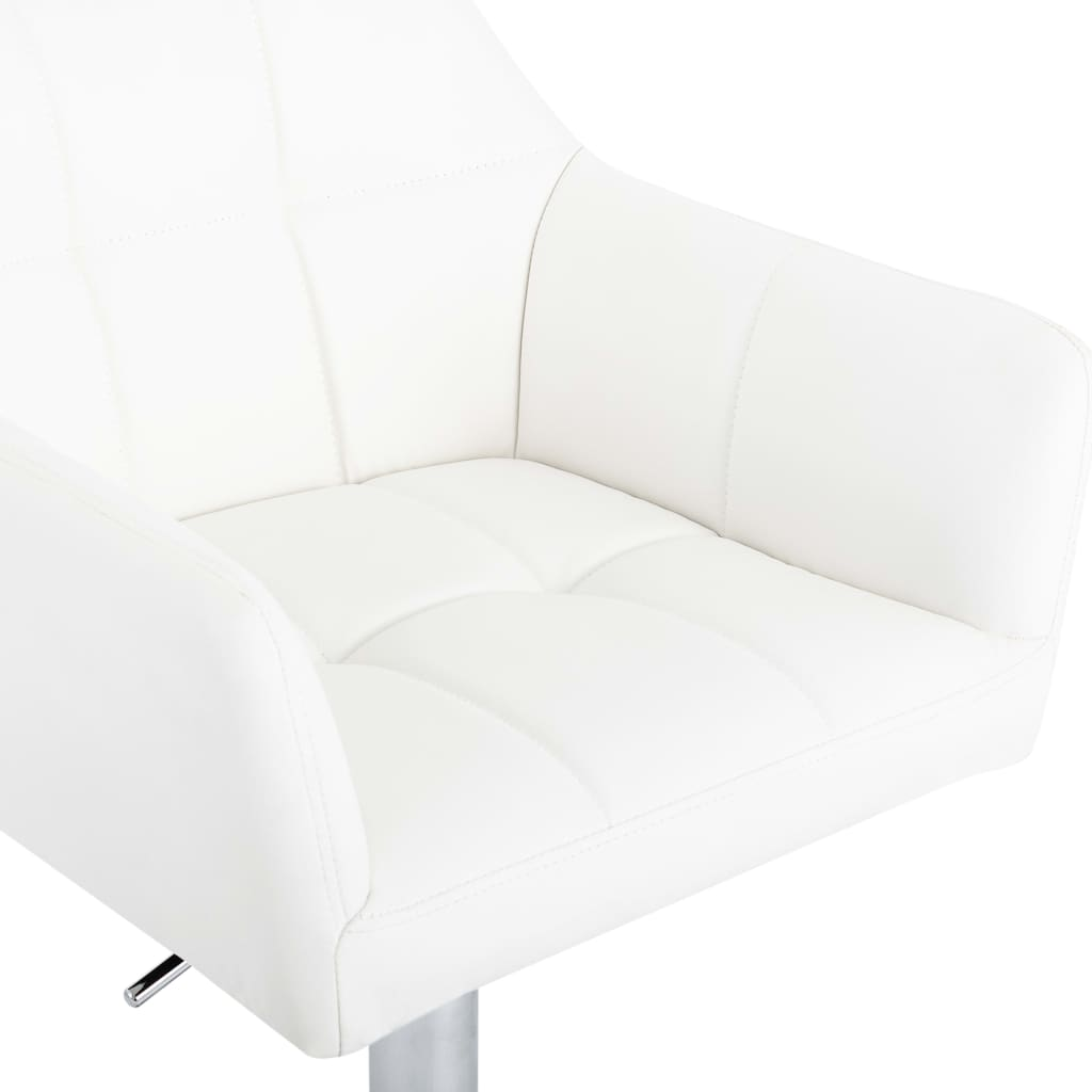 vidaXL Scaune de bar cu brațe, 2 buc., alb, piele ecologică
