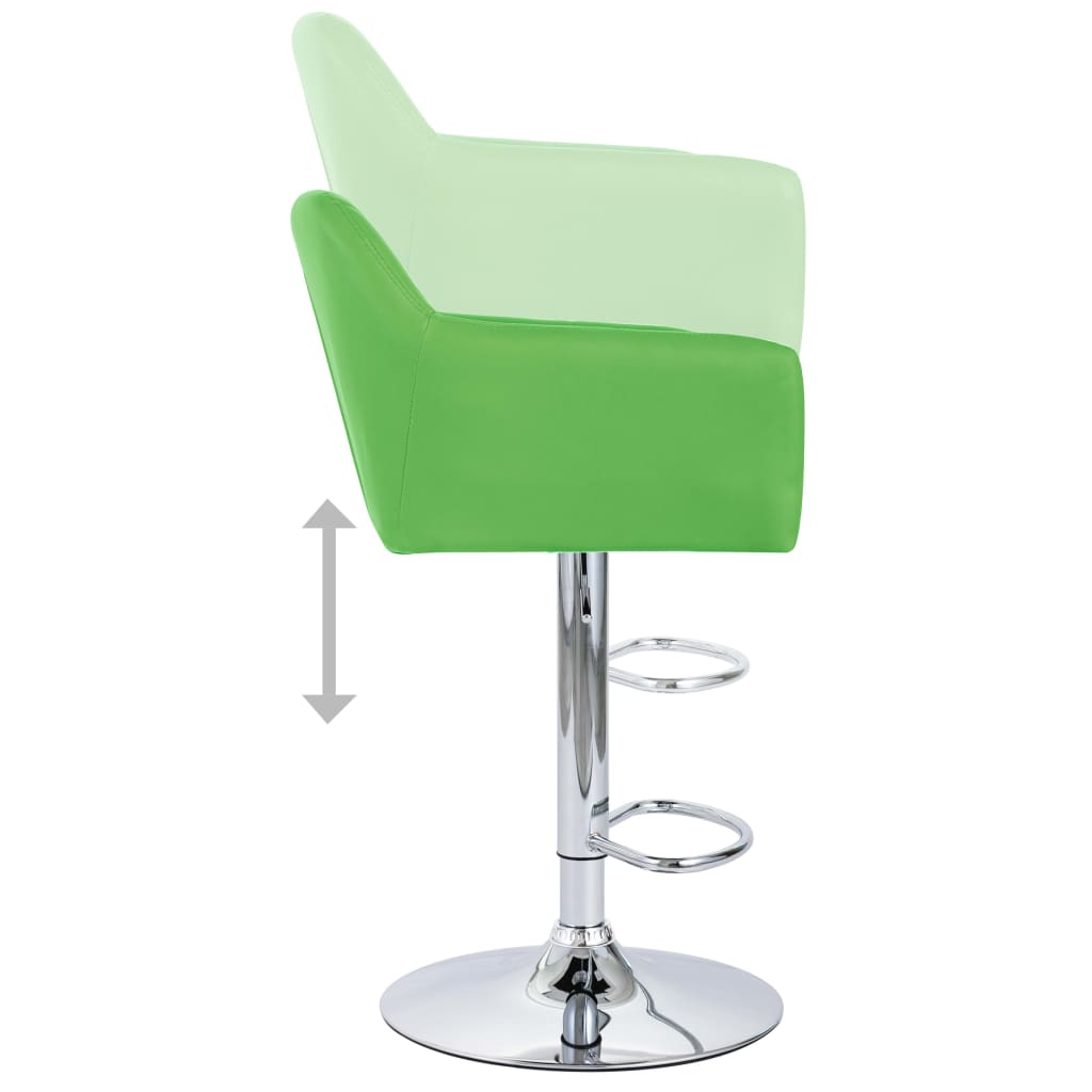 Scaune de bar cu brațe, 2 buc., verde, piele ecologică