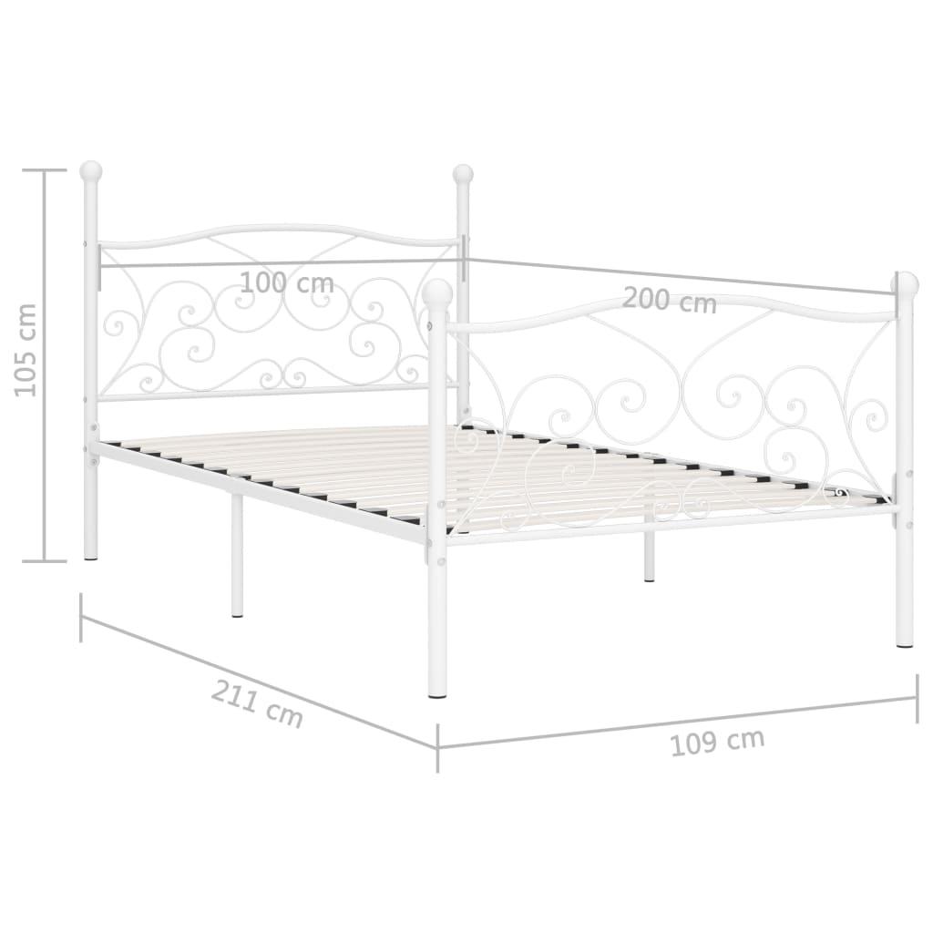 Cadru de pat cu bază din șipci, alb, 100 x 200 cm, metal