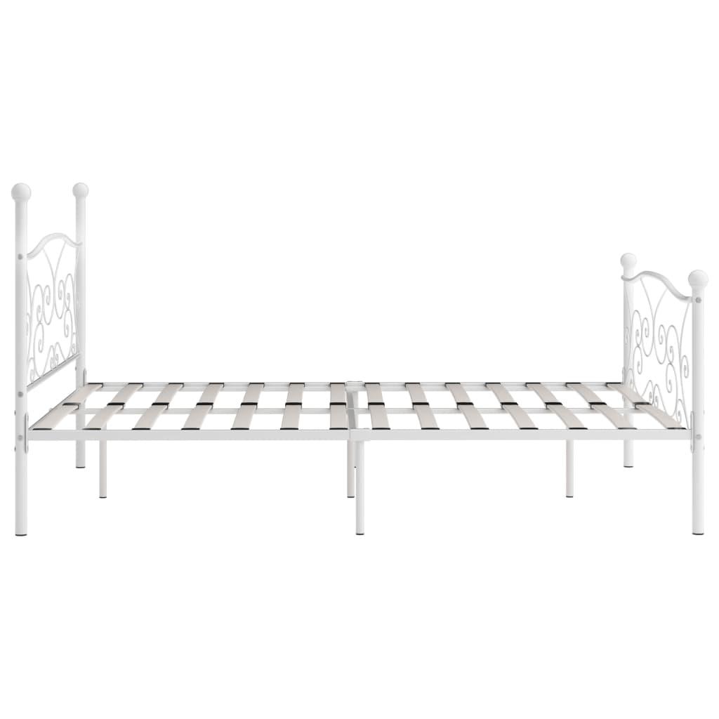 Cadru de pat cu bază din șipci, alb, 180 x 200 cm, metal