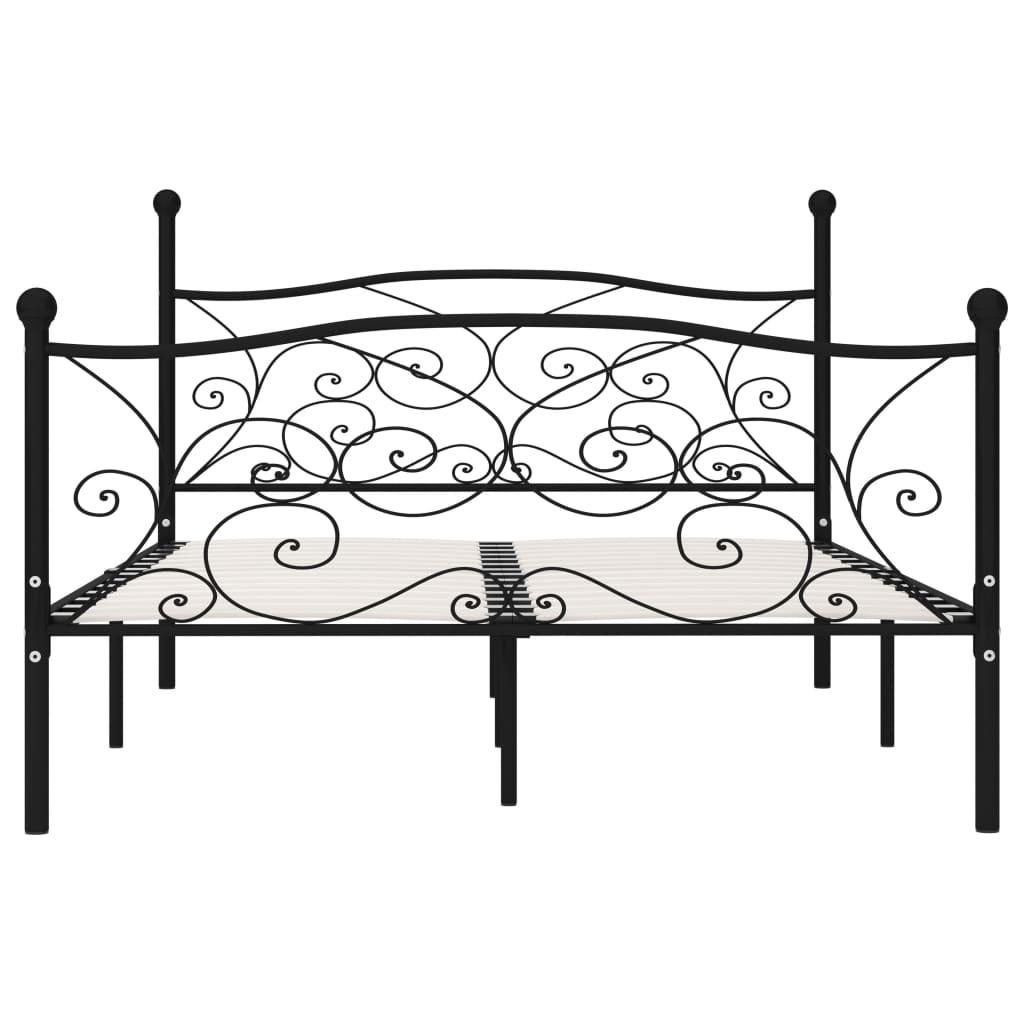 Cadru de pat cu bază din șipci, negru, 140 x 200 cm, metal