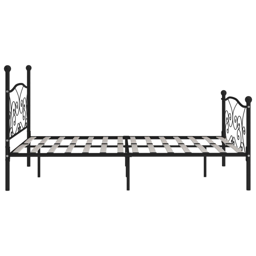 Cadru de pat cu bază din șipci, negru, 180 x 200 cm, metal