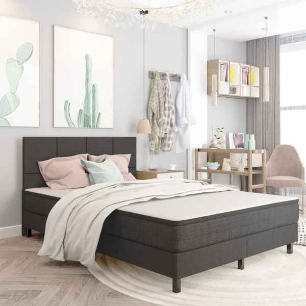 vidaXL Tăblie de pat, gri închis, 160 x 200 cm, material textil