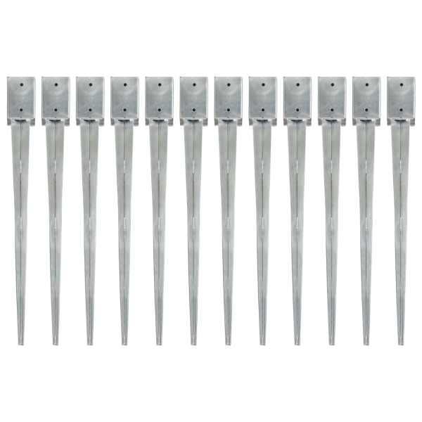vidaXL Țăruși de sol, 12 buc., argintiu, 9x9x90 cm, oțel galvanizat
