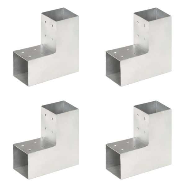 vidaXL Conectori de grindă, formă L, 4 buc, 81×81 mm, metal galvanizat