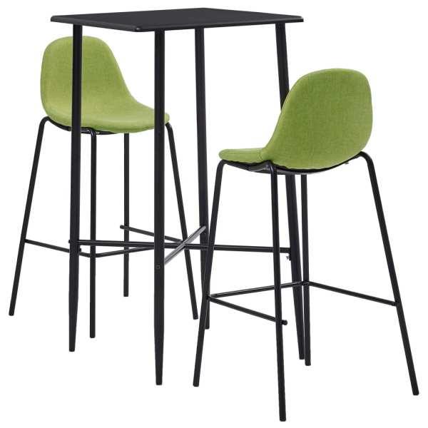 vidaXL Set de bar, 3 piese, verde, material textil