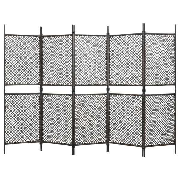 vidaXL Paravan cameră cu 5 panouri, maro, poliratan, 300 x 200 cm