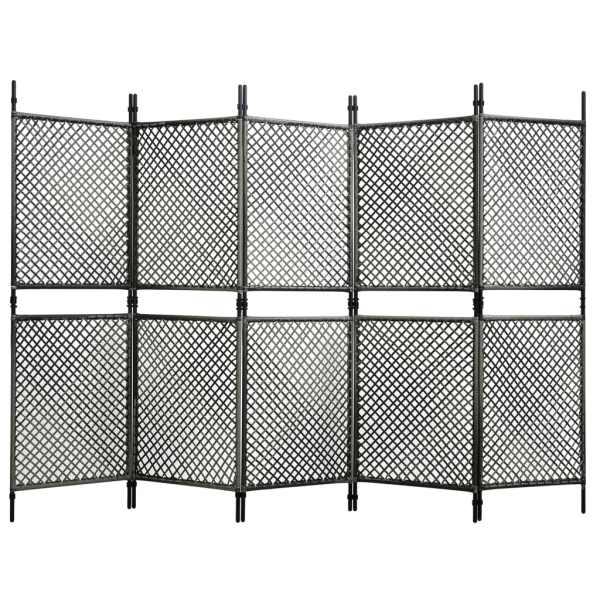 vidaXL Paravan cameră cu 5 panouri, antracit, poliratan, 300×200 cm