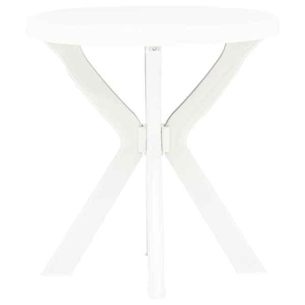 vidaXL Masă de bistro, alb, Ø70 cm, plastic