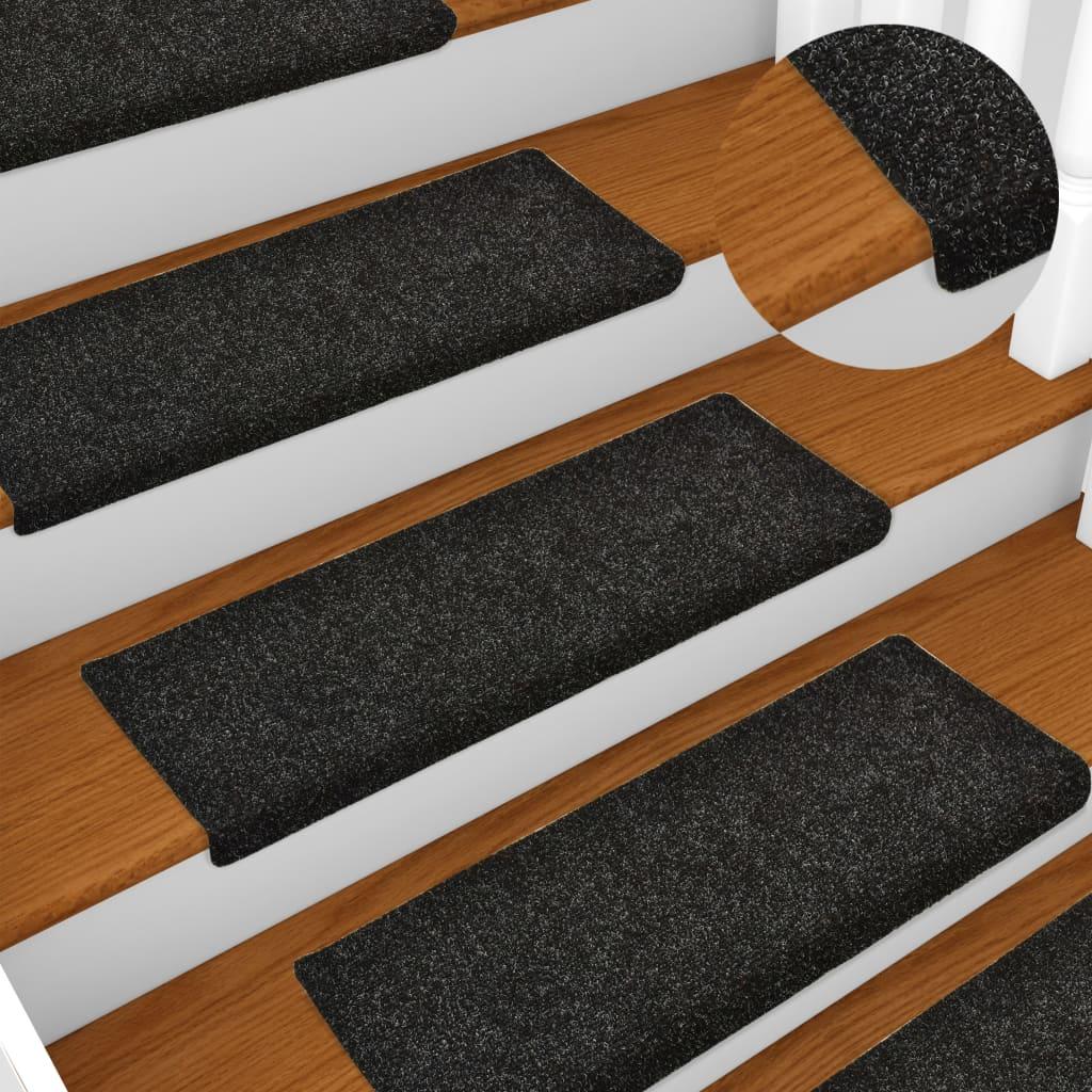 vidaXL Covorașe de scări cusătură punch, 15 buc., negru, 65 x 25 cm