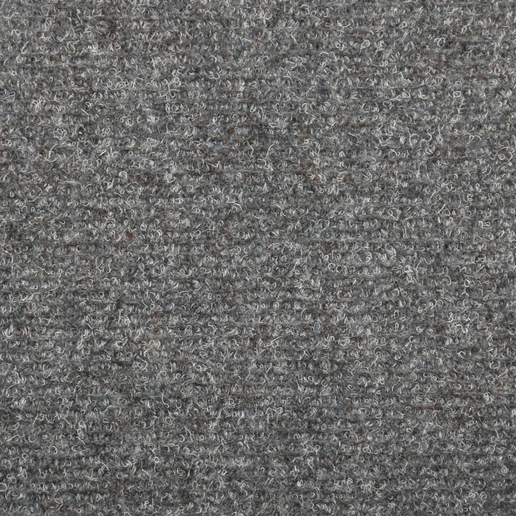 Covorașe de scări cusătură punch, 15 buc, gri deschis, 65×25 cm