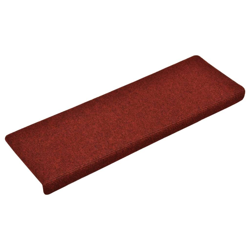 Covorașe de scări cusătură punch, 15 buc., roșu, 65 x 25 cm
