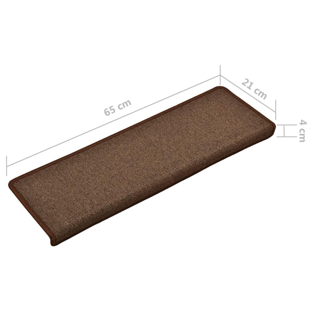 Covorașe de trepte de scară, 15 buc., maro, 65 x 25 cm