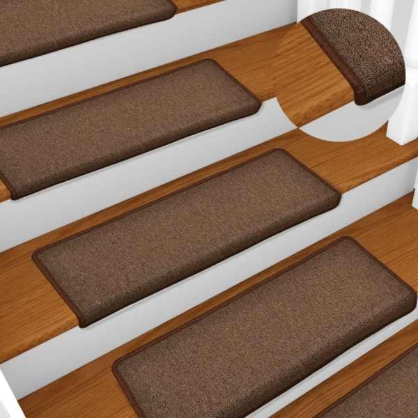 vidaXL Covorașe de trepte de scară, 15 buc., maro, 65 x 25 cm