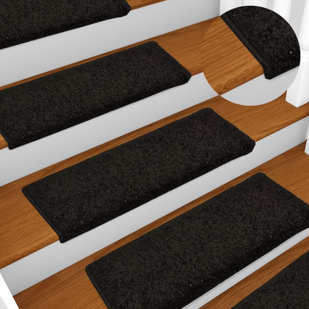 vidaXL Covorașe de trepte de scară, 15 buc., negru, 65 x 25 cm