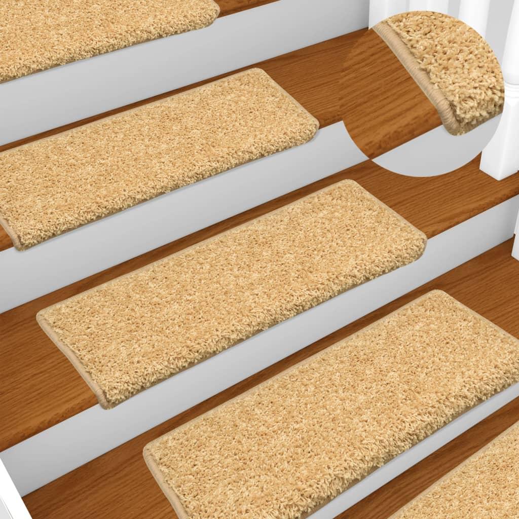 vidaXL Covorașe de trepte de scară, 15 buc., bej, 65 x 25 cm