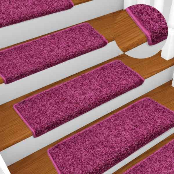 vidaXL Covorașe de trepte de scară, 15 buc., violet, 65 x 25 cm