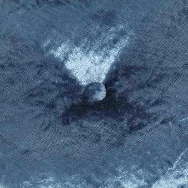 Fotoliu puf rotund, albastru, 40 x 20 cm, catifea