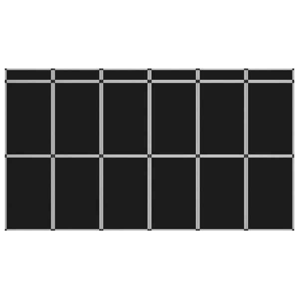 vidaXL Perete de afișaj pliabil cu 18 panouri, negru, 362 x 200 cm
