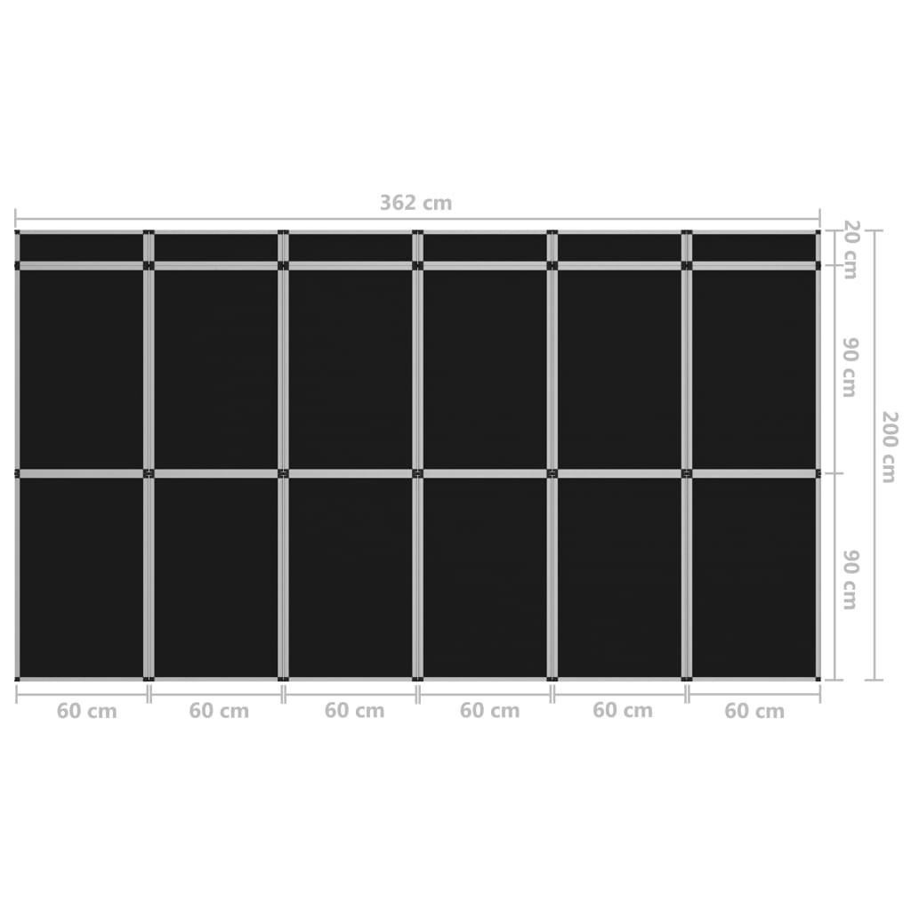 Perete de afișaj pliabil cu 18 panouri, negru, 362 x 200 cm