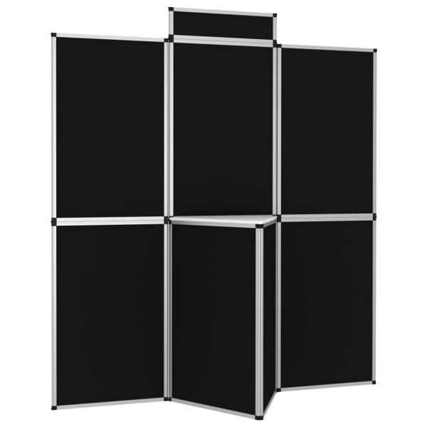 vidaXL Perete de afișaj pliabil cu 8 panouri cu masă, negru, 181x200cm