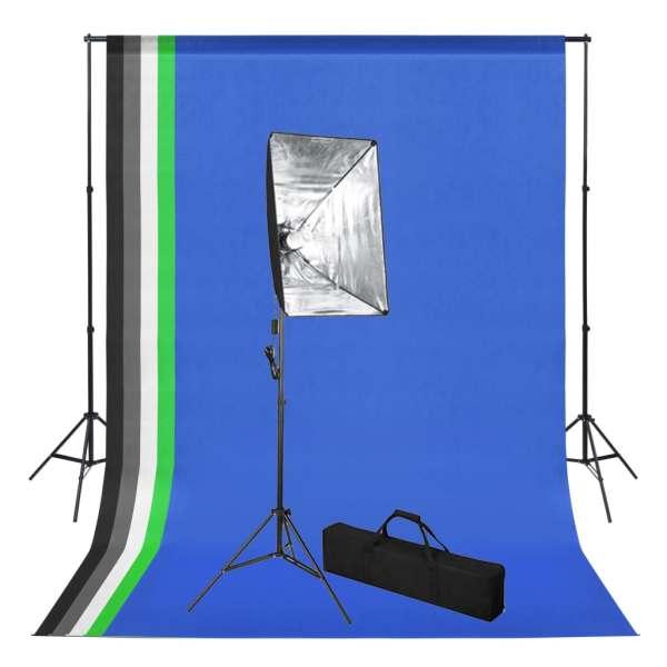 vidaXL Kit studio foto cu fundal și lumină cu softbox