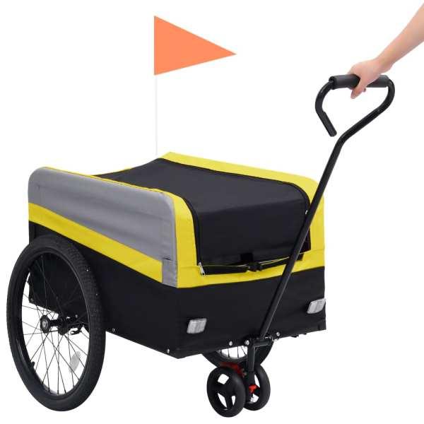 vidaXL Remorcă bicicletă & cărucior 2-în-1 XXL, galben, gri și negru