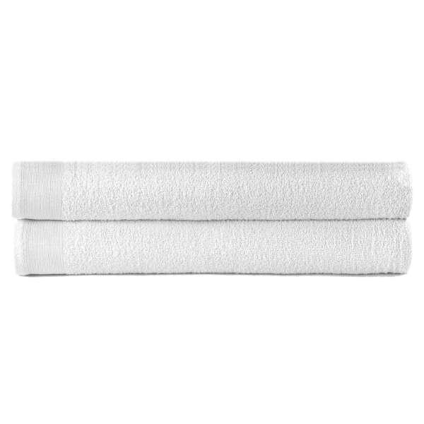 vidaXL Prosoape de duș, 2 buc., alb, 70 x 140 cm, bumbac, 450 gsm
