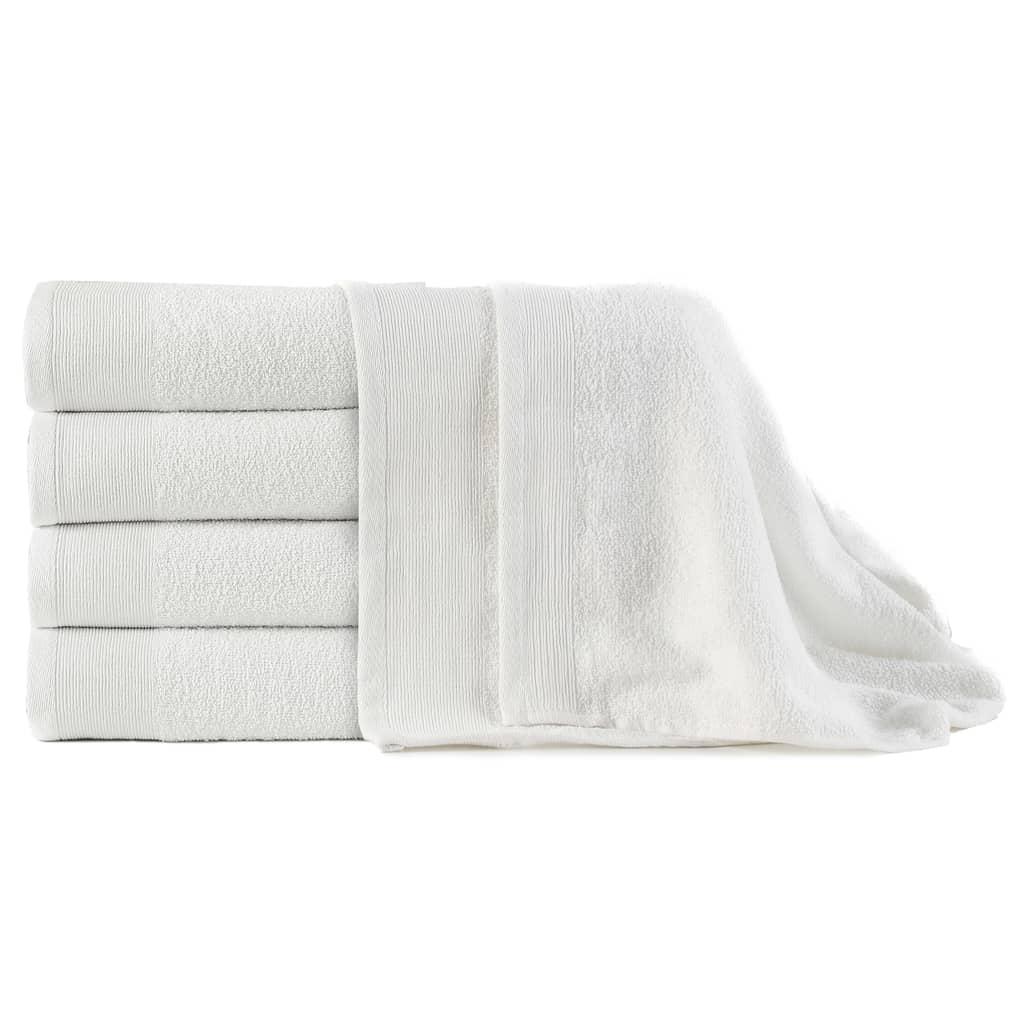 vidaXL Prosoape de baie, 5 buc, alb, 100 x 150 cm, bumbac, 450 gsm