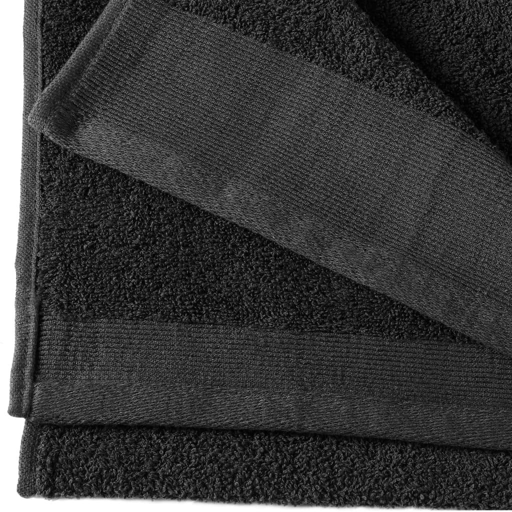 Prosoape de mâini, 5 buc., negru, 50 x 100 cm, bumbac, 450 gsm