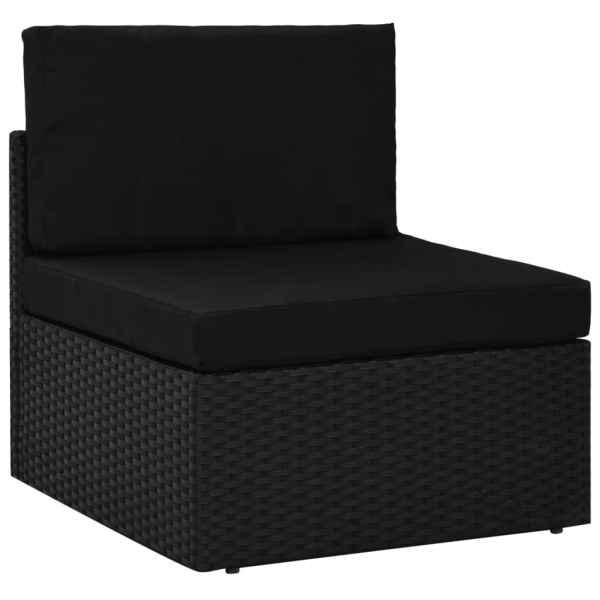 vidaXL Canapea de mijloc modulară, negru, poliratan
