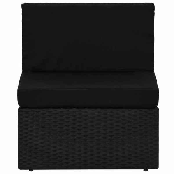 Canapea de mijloc modulară, negru, poliratan