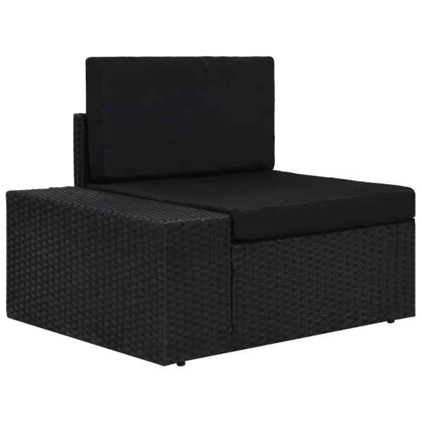 vidaXL Canapea de colț modulară cu cotieră dreapta, negru, poliratan