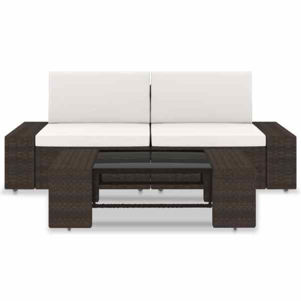 vidaXL Set mobilier de grădină, 3 piese, maro, poliratan