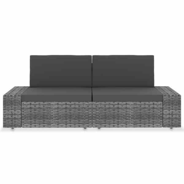 Canapea modulară cu 2 locuri, gri, poliratan