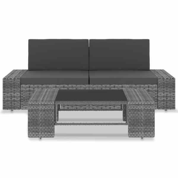 vidaXL Set mobilier de grădină, 3 piese, gri, poliratan