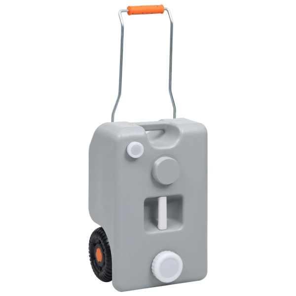 vidaXL Rezervor de apă cu roți pentru camping, gri, 25 L